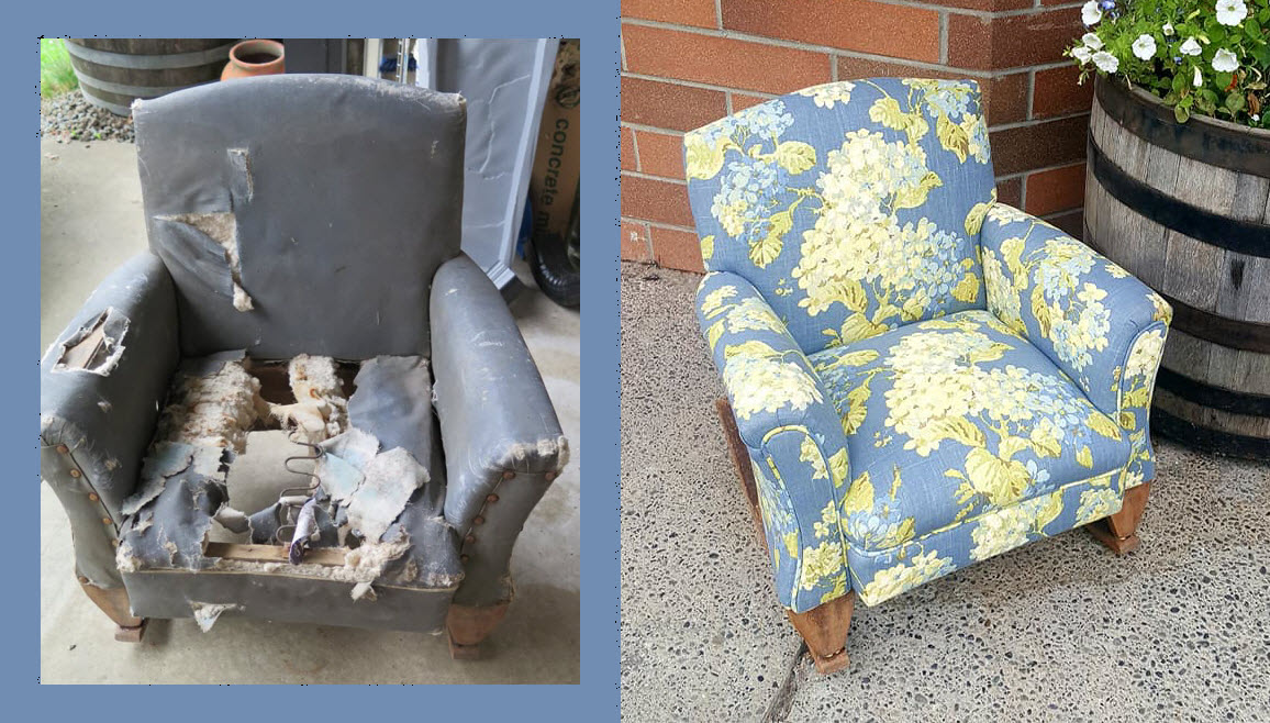 before and after view of upholstery work