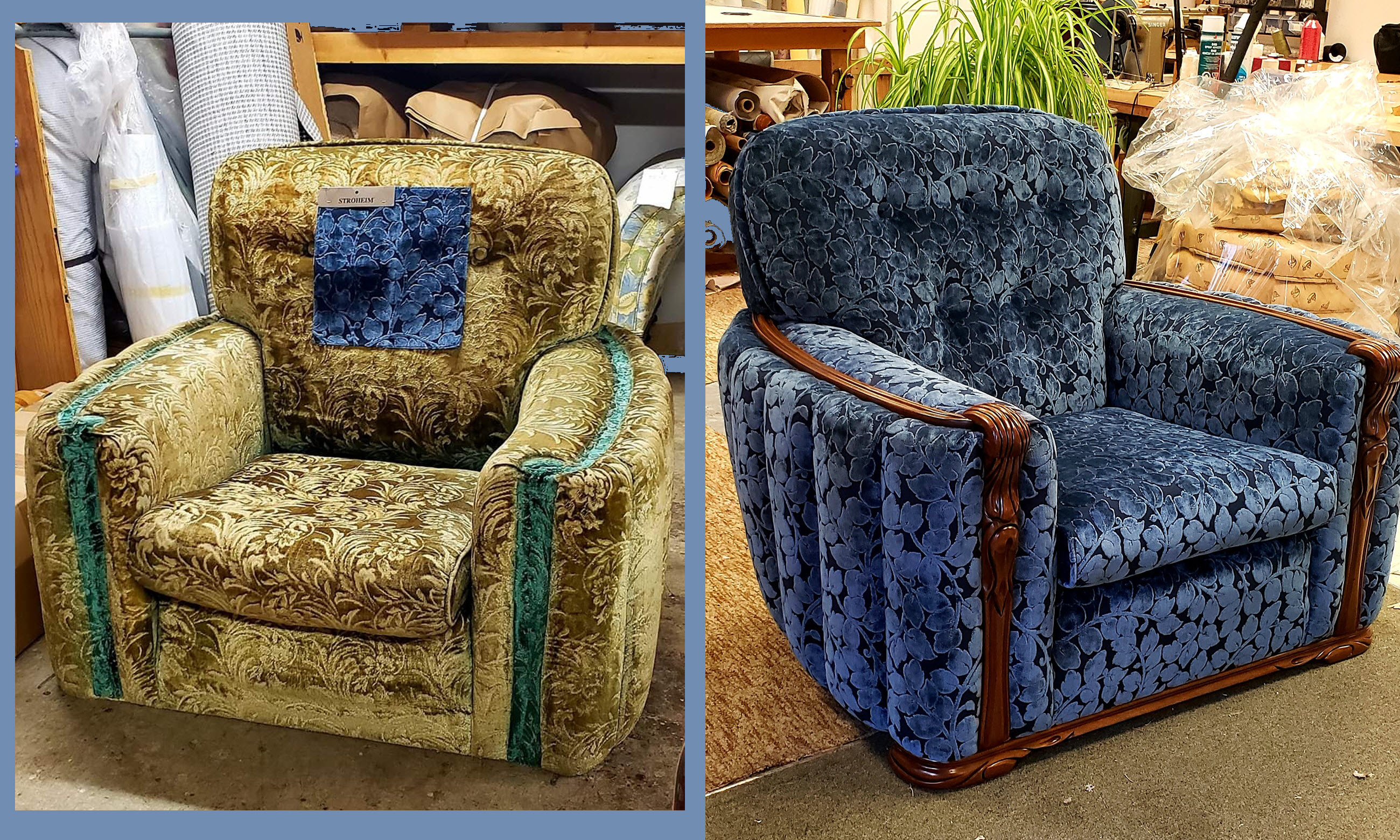 re-upholstered sofa seat